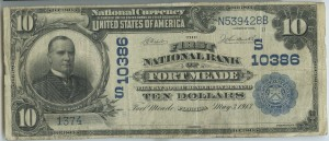 The First National Bank of Fort Meade. 1902 $10 Date Back Charter #10386 Signed by L.L. Bean, Cash. & W.E. Arthur, Pres