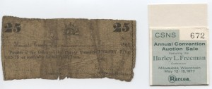 1862 25 Cent Note Sailboat Design. Harley L. Freeman Collection