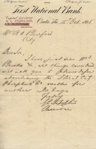 First National Bank of Ocala letter from the banks receiver, G.C. Stapylton