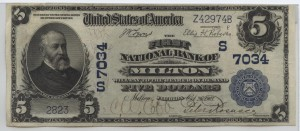 1902 Plain Back $5 Note Charter #7034