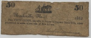 1862 50 Cent Note  Large Schooner Design