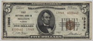 1929 Type 2 $5 Note Charter #13968