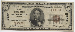 1929 $5 Type 1 (only 2 known) Charter #13320
