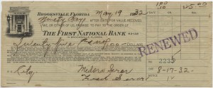 """1932 $25 """"pay to the order of"""" Note"""