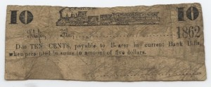 1862 10 Cent Note  Unlisted Train Design