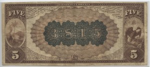 1882 Brown Back $5 Note Charter #3815
