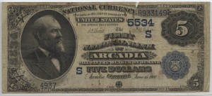 1882 $5 Value Back Charter #5534