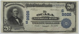 1902 Plain Back $20 Note Charter #9926