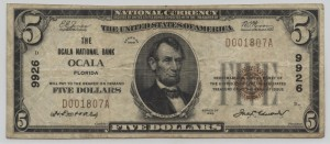 1929 Type 1 $5 Note Charter #9926