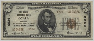 1929 Type 2 $5 Note Charter #9926