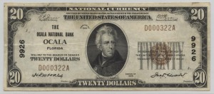 1929 Type 1 $20 Note Charter #9926