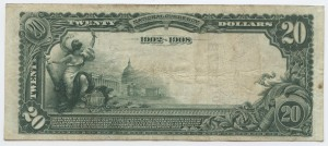 1902 Date Back $20 Note Signed DeWitt Griffin, Cash. and T.T. Monroe, Pres. Charter #10578 Charter #10578