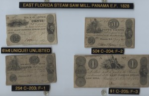 1828 Framed Set including 6 1/4 Cent Note, .25 Cent Note, .50 Cent Note, and $1 Note