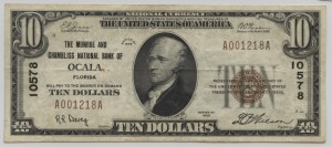 1929 Type 1 $10 Note Charter #10578