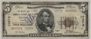 1929 Type 2 $5 Note Charter #10578