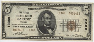 1929 $5 Type 2, 3rd Charter #13389