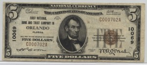 1929 Type 1 $5 Note Charter #10069