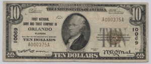 1929 Type 1 $10 Note Charter #10069