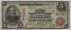 1902 Red Seal $5 Note Charter #6370