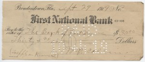 1919 $30 Issued Check