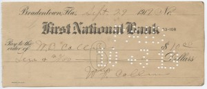 1919 $10 Issued Check