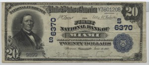 1902 Plain Back $20 Note Charter #6370