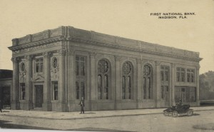 First National Bank.  Madison, FLA. Post Card