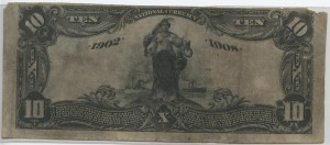 1902 Date Back $10 Note Signed Wadsworth, Cash. and Fraleigh, Pres. Charter #S7190