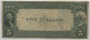 1882 Value Back $5 Note Charter #6055