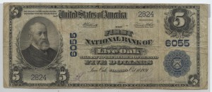 1902 Plain Back $5 Note Charter #6055