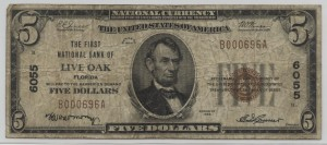 1929 Type 1 $5 Note Charter #6055