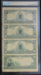 1902 $10 Date Back First Uncut Sheet Of Four Charter #9891