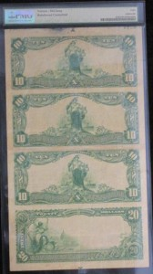 1902 $10 Plain Back  Uncut Sheet Of Four Charter #9891