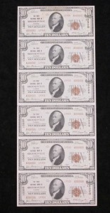 1929 $10 Type 2 Uncut Sheet Of (6) $10 Notes. Charter #13320