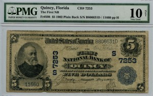 1902 Plain Back $5 Note Charter #7253