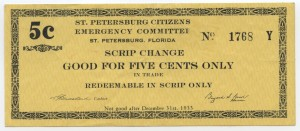 1933 St. Petersburg Citizens Emergency Committee 5 Cent Scrip