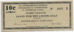 1933 St. Petersburg Citizens Emergency Committee 10 Cent Scrip
