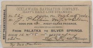 1894 Passage Ticket from Palatka to Silver Springs, Florida aboard Hart's Line
