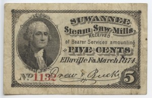 March 1874 Suwannee 5 Cent Note