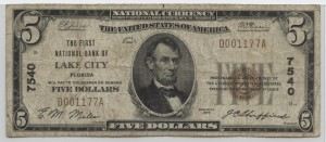 1929 Type 1 $5 Note Charter #7540