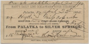 189_ Passage Ticket from Palatka to Silver Springs, Florida aboard Hart's Line