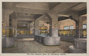 Post Card depicting the Interior View of The First National Bank Building