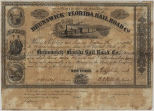1856 Brunswick and Florida Rail Road Co. Bonds of 9 Shares