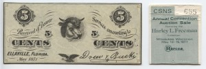 May 1871 5 Cent Note from Harley L. Freeman Collection