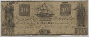 1845 $10 Note Signed T. Watson, Cash. and A. Hudson, Pres.