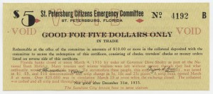 1933 St. Petersburg Citizens Emergency Committee $5 Scrip