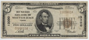 1929 Type 1 $5 Note Charter #13300