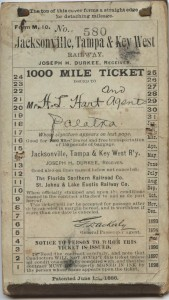 "Feb. 14, 1895 Jacksonville, Tampa, and Key West Railway ""1000 Miles Ticket"" Miles 945-1000 Unused"