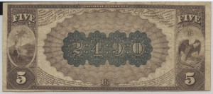 1882 Brown Back $5 Note Charter #S2490