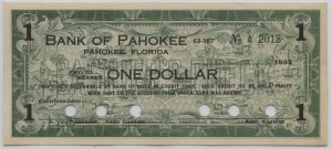 1933 Bank of Pahokee $1